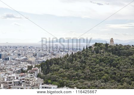 View From The Acropolis Of Athens To The Saronic Gulf And Port Piraeus