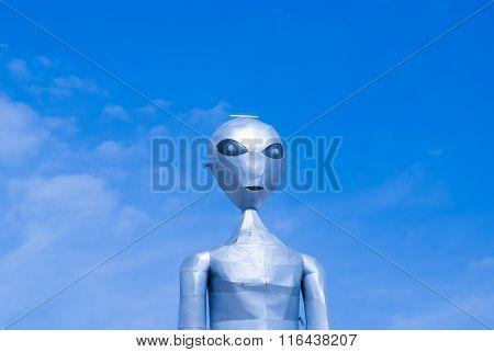 Alien On Blue Sky