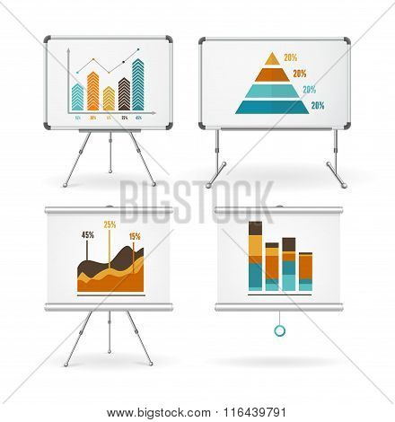 Diagrams and Graphs Whiteboards Set. Vector