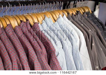 Close Up Shirt Hanging In Wardrobe.