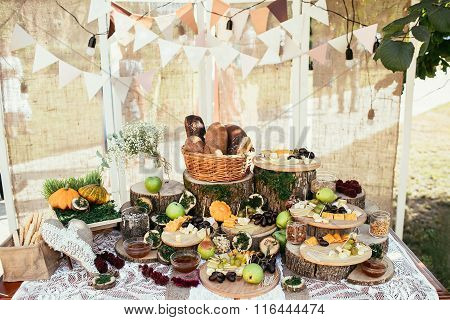 Rustic Bagging Candy Bar Set Up On Wedding Ceremony Place