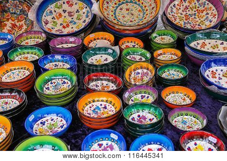 Sale Of Colourful Pottery At The Street Shop On The Grote Markt  In Haarlem, The Netherlands