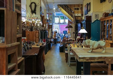 Interior Of Furniture And Wooden Handmade Products Shop On Kruisstraat Street In Haarlem, The Nether