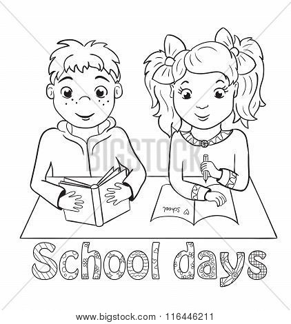 Boy And Girl Sitting At School Desk. Coloring Book
