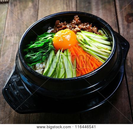 Steamed Rice pot with vegetables and eeg korea style