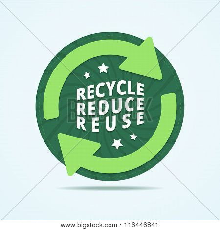 Recycle, reduce, reuse badge. Recycle stamp. Reuse label. Round recycle label with two arrow and stars. Abstract background with twisted rays. Vector illustration in flat style. poster