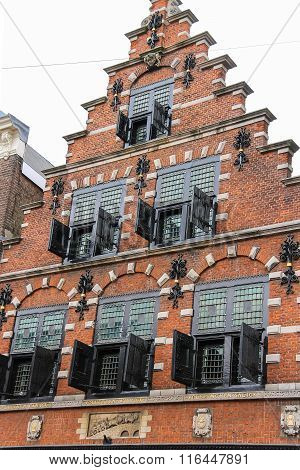 Beautiful Old Building On Kruisstraat Street In Haarlem, The Netherlands