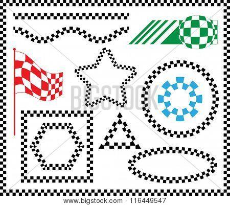 Race Flag Set Various Designs, Vinyl Ready Vector Illustration