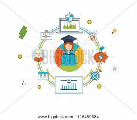 Investment in education. Education concept. Investment business. Investment management. Financial strategy and report. Investment growth. Business development. Strategy of successful learning. poster