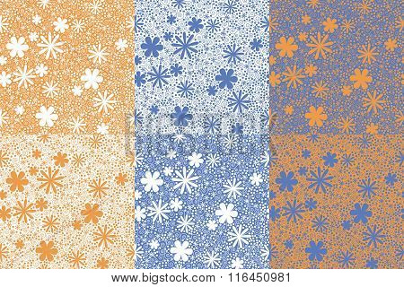 Seamless Pattern Made Of Abstract Flowers, Spirals And Dots. 6 Variants Of Painting. Objects Grouped