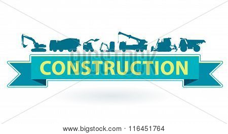 Blue and yellow icon with set of ground works machines vehicles. Heavy construction equipment.