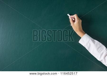 Female Hand Writing On The Blackboard