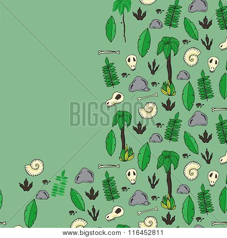 Seamless Pattern With Archaeological Excavations In Cartoon Style