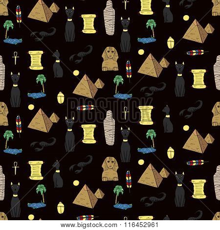 Seamless Pattern With Egyptean Elements Such As Cats, Sphinx, Mummy, Pyramids, Scarabs, Etc.