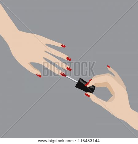 Vector Illustration Of Painting Nails I