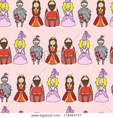 Seamless Pattern With Princess, Queen, King And Knight