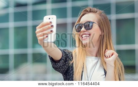Trendy Girl Make A Selfie