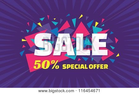 Concept vector banner - special offer - 50% sale. Sale banner with abstract triangle elements.