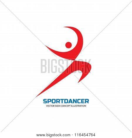 Sport dance - vector logo concept illustration. Human character logo. Dancer sign. Gymnastic logo.