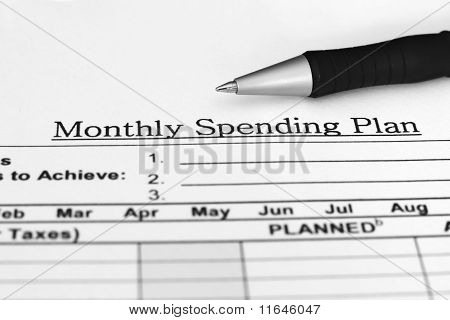 Monthly spending plan