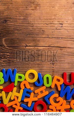 Colorful plastic letters