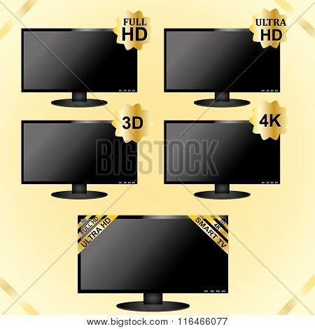 GOLD LCD TV icons