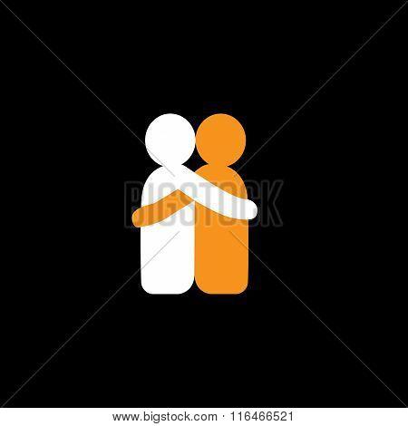 Lovers Hug Each Other In Deep Love & Romantic Mood - Vector Icon.