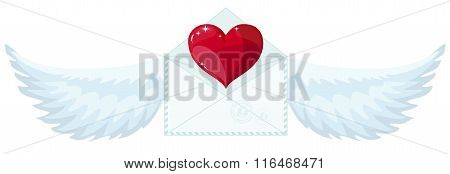 Valentine envelope with heart and wings