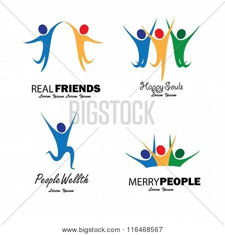 Colorful Happy People Jumping In Joy Vector Set