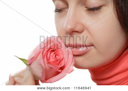 The Woman With A Rose Closeup