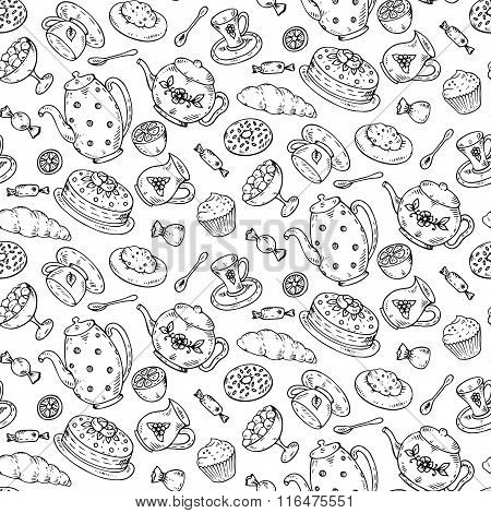 Tea Time Seamless Pattern With Hand Drawn Doodle Elements.