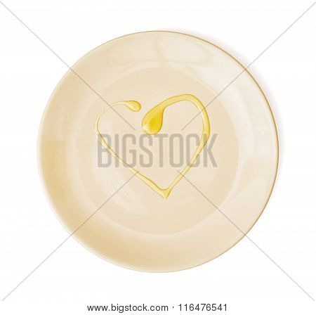 Honey In The Heart Shape On The Plate, Valentine's Day, Isolated