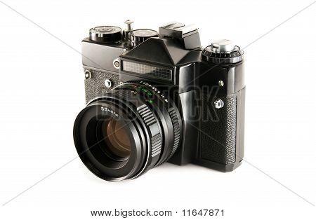 Old Slr Camera On White