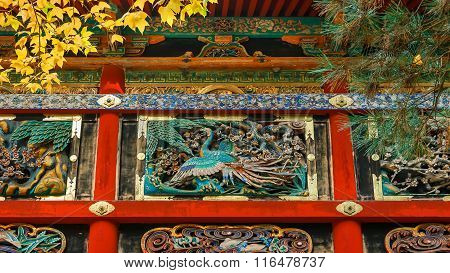 Kairo - The wall of Yomeimon gate at Tosho-gu shrine in Nikko Tochigi Japan