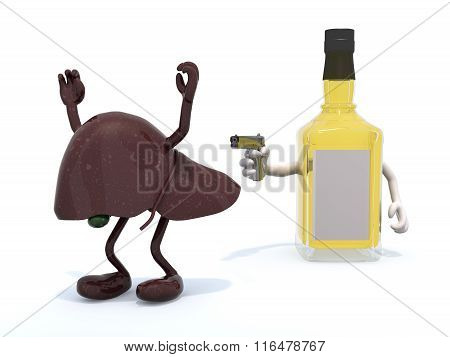 Whiskey Bottle With Arms Wielding Gun To The Human Live