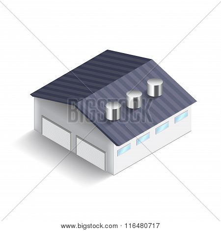Warehouse Building Isolated On White Vector