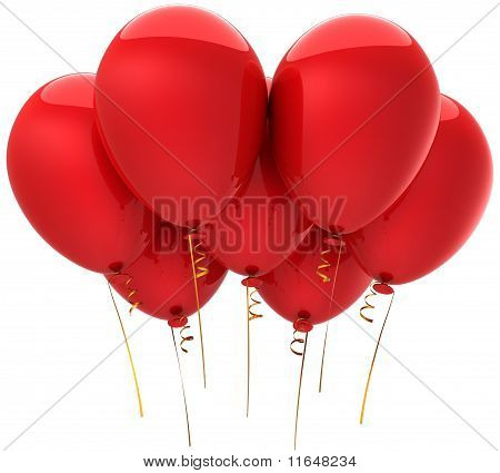 Seven balloons colored red