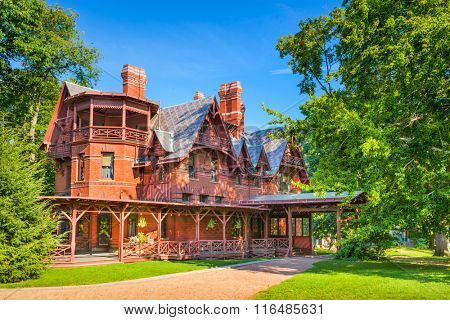 HARTFORD, CONNECTICUT - AUGUST 17, 2013: The Mark Twain House and Museum. It was the home of Mark Twain (Samuel Langhorne Clemens) from 1874 to 1891.