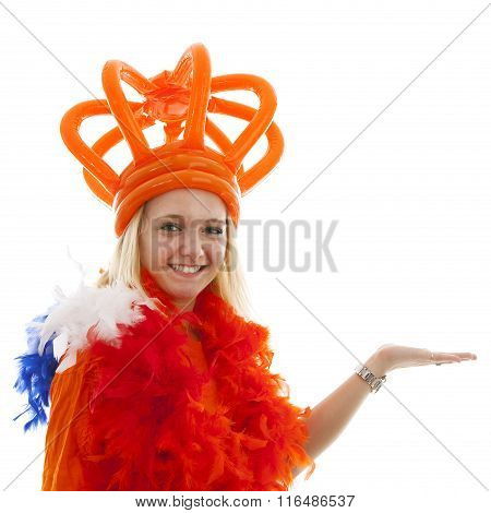 Young Woman As Dutch Orange Supporter Is Showing Something