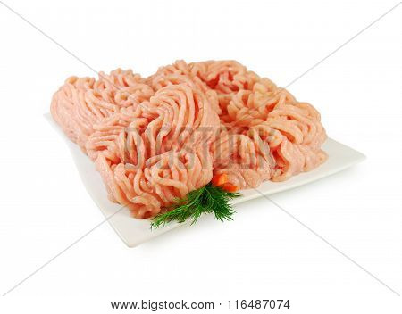 Raw meat. Fresh Minced Chicken in a Dish  Isolated against White background