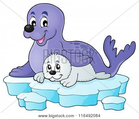 Happy seal with pup theme 1 - eps10 vector illustration.