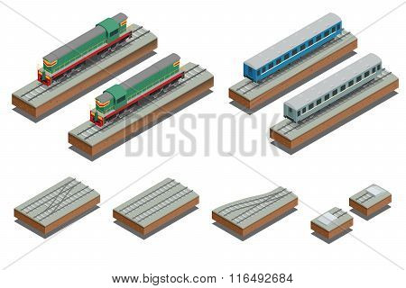 Fast Train coach and diesel electric locomotive. Vector isometric illustration of a Fast Train