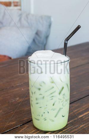 Green Tea Latte Into A Cold Glass