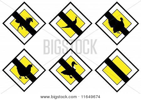 Animal no priority signs isolated on white background poster