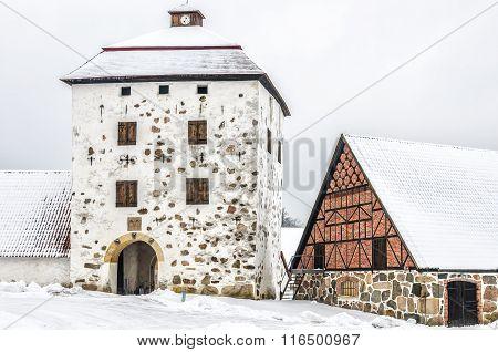 Hovdala Castle Gatehouse In Winter