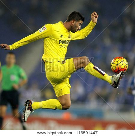 BARCELONA - JAN, 23: Mateo Musacchio of Villareal CF during a Spanish League match against RCD Espanyol at the Estadi Cornella on January 23, 2016 in Barcelona, Spain