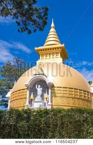 Buddhist Stupa In The Monastery Thienvien Around Dalat