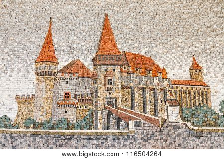 Hunedoara, Romania, 11 July, 2015: Image Made From Stone Blocks, Showing The Corvin Castle In Hunedo