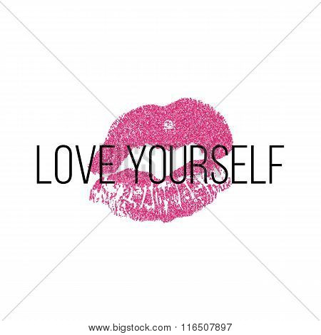 Poster with pink lips prints on white background.