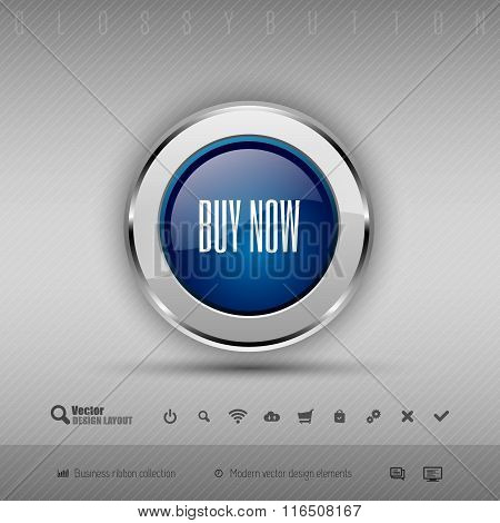 Vector Design Elements Blue And Gray Glossy Button With Set Of Icons